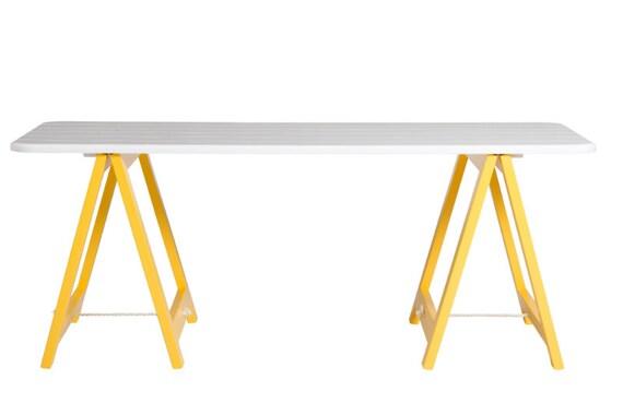 white trestle table desk