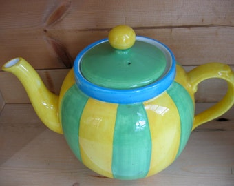 Vintage Green Yellow Striped China Teapot - Made in UK