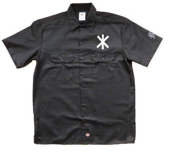 Hagal rune embroidered work shirt dickies for Embroidered dickies work shirts