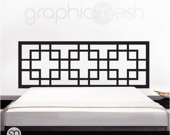 Wall decal HEADBOARD OVERLAPPING SQUARES - Interior bedroom decor by GraphicsMeshs