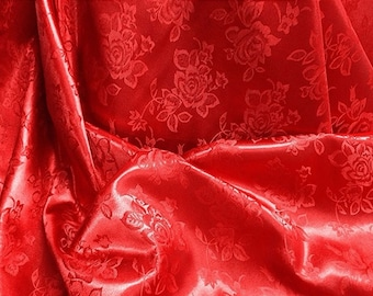 "Floral  satin Jacquard Brocade Fabric  60"" wide sold by the yard"