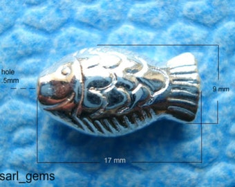 10 Tibetan Silver Detailed Fish Spacer Beads 17mm x 9mm x 6mm