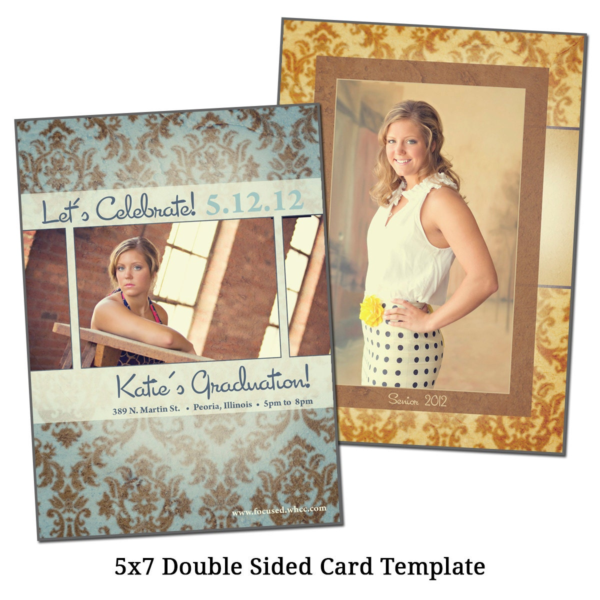 5x7 double sided card template senior damask by vgallerydesigns. Black Bedroom Furniture Sets. Home Design Ideas