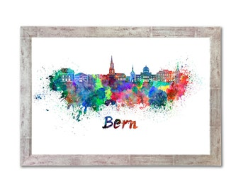 Bern skyline in watercolor over white background with name of city - SKU 0212