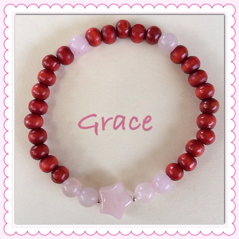 Star-Shaped Rose Quartz Healing Crystals Stretch Bracelet for