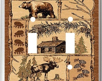Rustic Bear Moose Cabin Design Light Switch Cover Plate or Outlet  Home Decor  Free Shipping to U.S.!!!