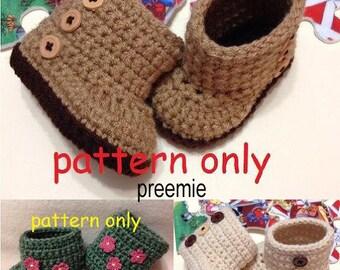 Preemie Crochet Pattern, Crochet Baby Boots, Booties Pattern, Crochet Booties Pattern, Crochet Baby Booties, Digital Item.