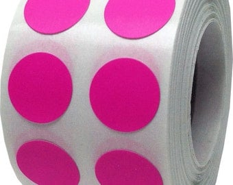 "1,000 Hot Pink Dot Stickers - Small 1/2"" Inch Round Adhesive Labels/Roll"