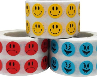 3,000 Mood Stickers - Happy Face, Sad Face, Goofy Face Labels - Small 0.5 Inch Round
