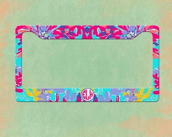 monogrammed license plate frame lilly pulitzer inspired personalized monogrammed license plate car tag - Monogram License Plate Frame