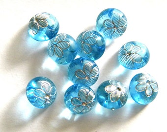 10 Crystal Blue Flower Buttons - 12mm