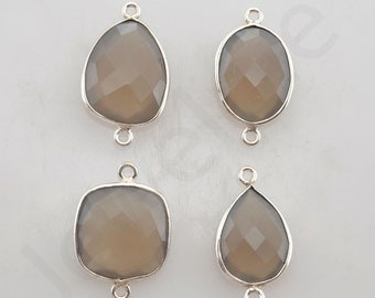 Gray Chalcedony 925 Sterling Silver Bezel Station Connector and Charm, 1 piece