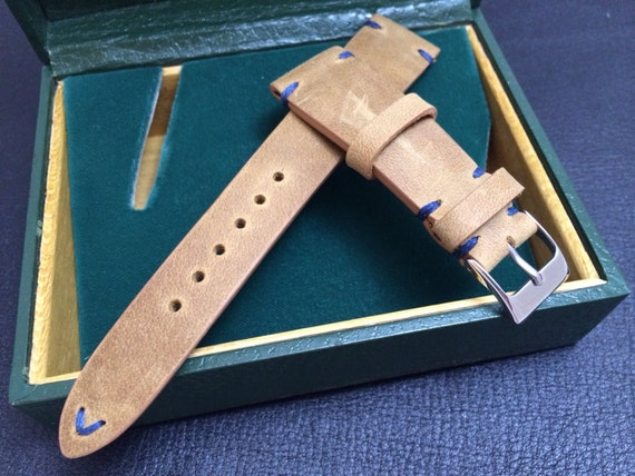 Handmade real leather watch band, Vintage look Rolex Khaki Strap (Blue Stitching), Beige - 18mm/19mm/20mm lug width