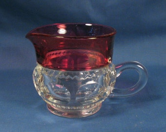 Vintage Creamer - Clear and Pink Glass