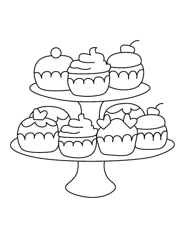 cupcake stand coloring page Flower Coloring Pages  Coloring Pages Of Cakes And Cupcakes