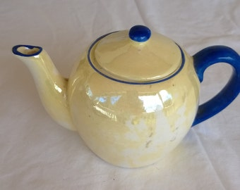 vintage yellow lusterware  tea pot from checkohsvakia ,1920's era vintage decor