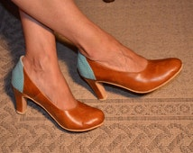High heel leather handmade shoes / women shoes in Brown leather / Model Mary Jane