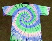 Green & Blue Spiral Tie Dye 100% cotton T-shirt, NON TOXIC, ENVIRONMENTAL Friendly.