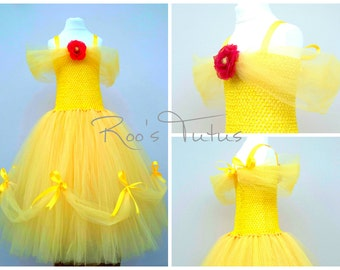 Disney Belle inspired (Beauty and the Beast) Tutu Dress, Ages 5-10yrs