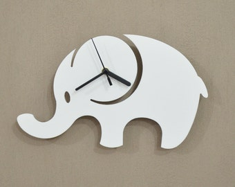 Elephant Kids Cartoon Silhouette - Wall Clock
