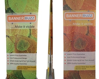 2.5' W x 6.5' H  Deluxe Wide-Base Double-Screen Roll-Up Banner Stands for event Birthday party by BannerBuzz