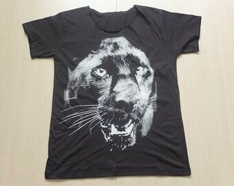 Black Panther Animal Print Pop Rock T-Shirt Low Cut M