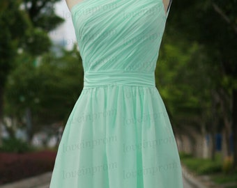Mint Prom Dress,Mint Handmade Chiffon Bridesmaid Dress,Short Prom /Party Dress,Mint Wedding Party Dress/Evening Dress