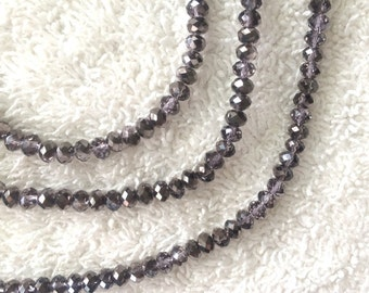 120pcs Loose Chinese Glass 4mm Faceted Rondelle Beads – Half Metallic Coated and Half Brown