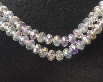 "16"" Chinese Glass 8mm Faceted Rondelle Beads – Clear AB"