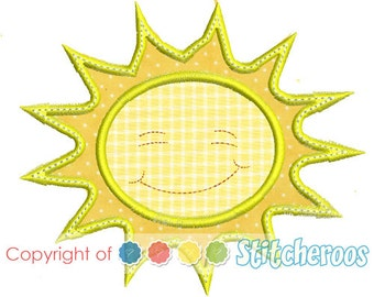 Smiling Sun Applique Design -In Hoop sizes   4X4 , 5 x 7, 9x9- Instant Download - for Embroidery Machines