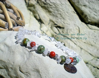 AFRICAN SPIRIT Bracelet with African Turquoise, Red Jasper, an old mystical Shell pendant, metal beads, rock crystal chips and snap hook.