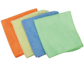MICROFIBER CLEANING CLOTH 4 pack 12 in x 12 in No lint cleans glass mirrors electronic dust anything machine wash tumble dry 2 top