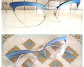 Vintage Cat Eye Frames Eyewear Sixties Glasses Retro Mid Mod Metal Frame