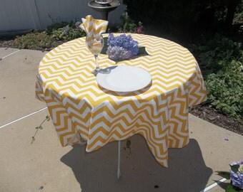 Beautiful Wedding Table Cloth in Sunshine Yellow and White Chevron