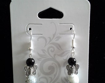 Handmade Black and White Earrings with Butterfly Center