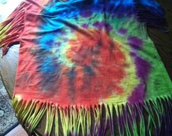 Custom Tie Dye Fringe T-Shirt