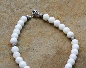 White Agate and .925 Bali Sterling Silver Necklace