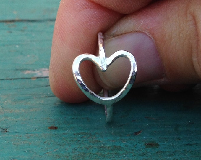 Sterling silver open heart ring