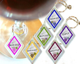 "Wine Glass Charms ""Schnockered""  from rescued, repurposed window glass~When you don't want to share, mark your glass!"