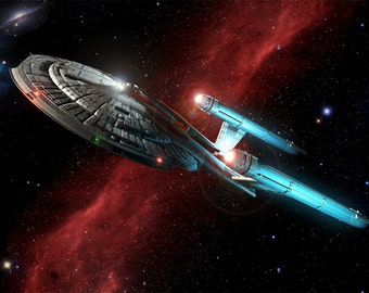 Star Trek Digital Art  Glossy Print  'EnterpriseNX01 Crossing The Nebula'