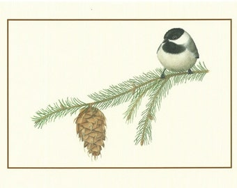 Set of 4 Black-capped Chickadee Cards