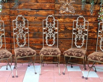Clematis Antique Gold Set of 5 Vintage Spanish-Style Wrought and Cast Iron Ornate Chairs