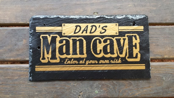 MAN CAVE SIGN - Dad's Man Cave - Dad's Room - Unique Slate Sign - Den Sign - Dad's Gift - No Girls Allowed - Game Room -