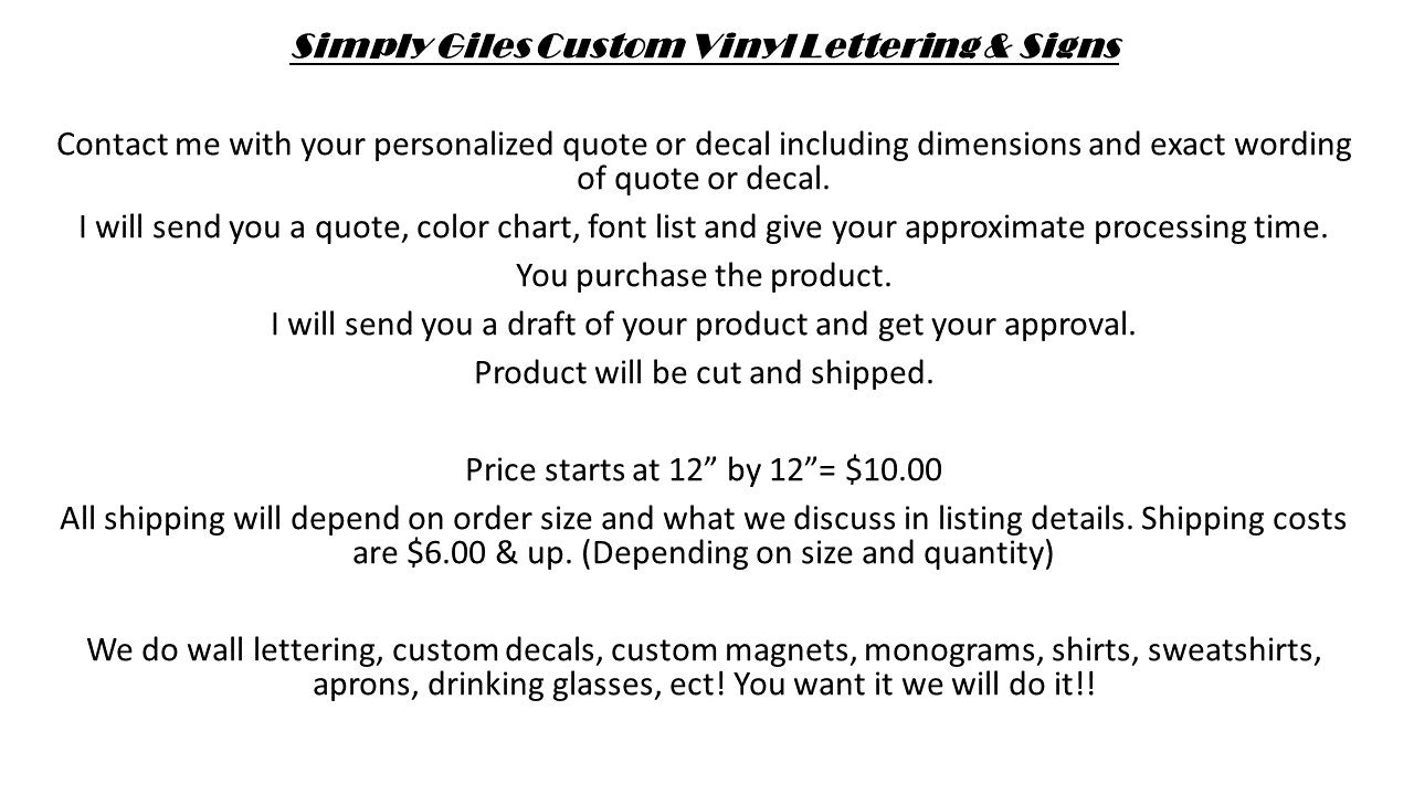 CUSTOM VINYL Lettering  Decals You Want It We Do It From - Custom vinyl decals lettering for shirts