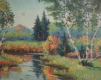 Vintage Impressionist Oil Painting Landscape, Signed