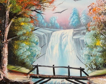 Waterfall oil painting river forest landscape signed