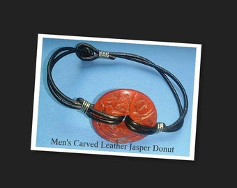 "Men's Leather Jasper Bracelet 8"" inch"