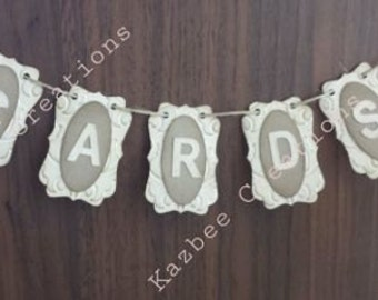 Rustic Wedding Engagement Mini 'Cards' Banner/Bunting Perfect for a Birdcage