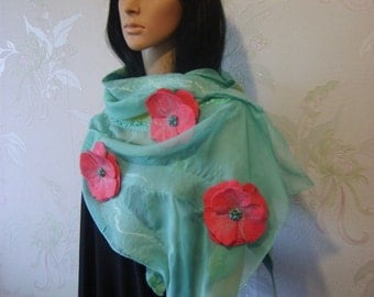 Nuno felted scarf-Felted wool scarf-Felted scarf-Nuno felted shawl-felted scarves-felted shawl-green