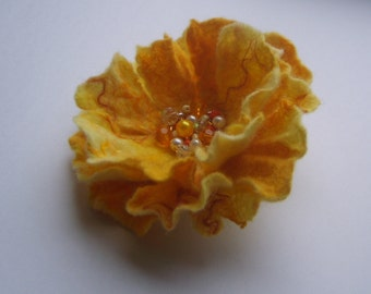 Felt brooch-Felt flower brooch-Flower brooch-Felt flower pin-Yellow brooch